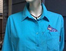 Disney Winnie the Pooh Women's Shirt Blouse Top Blue 3/4 Sleeve Embroidered SZ L