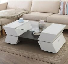 Coffee Table Tables With Storage Glass Living White Wood Room Modern Furniture
