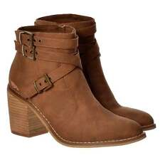 Womens Girls Rocket Dog Deon Buckles And Straps Ankle Boot Block Heel Black Tan