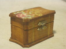 small hand painted trinket box wooden container jewelery treasure chest Lucille