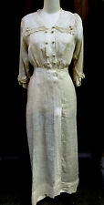 Vintage Antique Edwardian Lace Linen Tea Gown Dress Size Small Zeman made rare!!