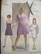 Vintage 1969 Simplicity Pattern 8614 Jumper or Dress Blouse 11/12 B 32