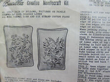 Vintage Bucilla MID CENTURY JACOBEAN Bird Tree Crewel Embroidery Kit Pillows