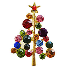 RUCINNI RoRo - X'mas Tree/Star Brooch, 20K Gold plated and Crystals