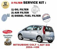 FOR MITSUBISHI COLT 1.5 DT DiD 2004--  OIL AIR FUEL FILTER ( 3 ) SERVICE KIT