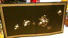 ANTIQUE CHINESE BROWN BACKGROUND FLORAL DESIGN ON SILK IN ACRYLIC 4 PANEL SCREEN