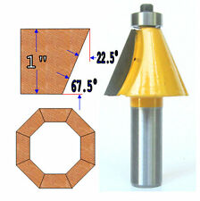 "1 PC 1/2"" Shank 1"" Cutting Depth 22-1/2° Chamfer  Router Bit  sct-888"
