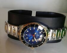 Croton Aquamatic Stainless Steel gold Bracelet BLUE Dial Watch CA201228 NEW