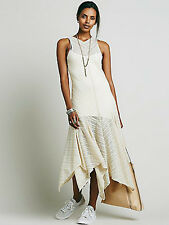 New Intimately at Free People Sheer Mesh Lila Maxi Slip Dress Beige Ivory Large