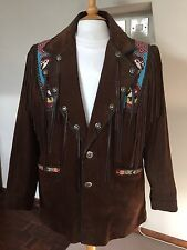 NATIVE AMERICAN INDIAN MENS BROWN SUEDE JACKET COAT size XL-XXL 50 Inche Chest