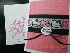 Handmade HAPPY BIRTHDAY Card ~HELLO KITTY  Using Stampin Up Darice Embossed