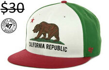47 Brand Men California Republic Bear Logo Strapback Skate Surf Hat Cap Mexico