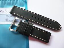 Handmade leather strap in 24mm -  Vintage Black in 24/24mm for your Panerai