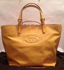 BNWT Tod's Logo Shopping Media Tote Bag Yellow Leather RRP £524.00