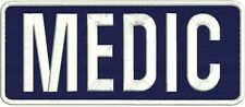 medic embroidery patch  4x10 velcro Navy white border