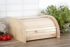 Wooden Bread Box Apollo Roll Top Bin Storeage Loaf Kitchen Bech Wood - Light