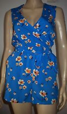 NEW LOOK Blue Multi Colour Floral Wrap Short Sleeve Summer  Play suit Size 6