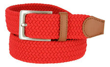 "MEN'S FABRIC LEATHER ELASTIC WOVEN STRETCH BELT 1-3/8"" WIDE NWT"