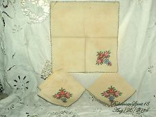 ANTIQUE VINTAGE THREE FRENCH HAND EMBROIDERY ROSES FINE LINENS TABLE NAPKIN SET