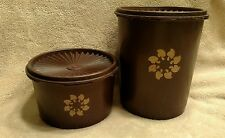 2 vintage round stacking TUPPERWARE canisters,  brown 1970s with lids