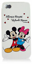 For iPhone 4 / 4S 4G White Disney Mickey & Minnie Mouse Hearts Fitted Case Cover