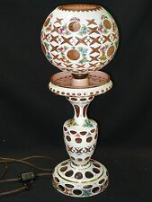 "LARGE 21"" ANTIQUE 50s BOHEMIAN CZECH GLASS WHITE OVERLAY HAND PAINTED TABLE LAMP"