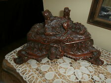 Antique Large Hand Carved Black Forest Wood Figural Jewelry Box~Casket