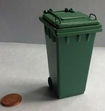 Green Wheelie Bin, Miniature Doll House Garden, Outdoor. 1:12 Scale