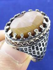 Handmade TURKISH OTTOMAN Agate 925 Sterling Silver Men's Ring Size 9 R1438