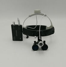 Dental Surgical Binocular 3.5X420mm Leather Headband Loupe with LED Headlight