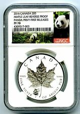 2016 $5 CANADA 1 OZ SILVER MAPLE LEAF NGC PF70 PANDA PRIVY REVERSE PROOF RARE!