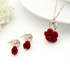 Party Women Crystal Gold Plated Pendant Necklace Flowers Wedding Jewelry Set