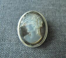 ANTIQUE MOTHER OF PEARL MOP PORTRAIT CAMEO SILVER PIN & PENDANT