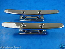 "NEW PAIR 4"" FLAT TOP 2 HOLE STAINLESS STEEL 316 CLEATS"