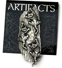 3 Striped Kitty Cats Climbing Sneaking Up Side Tree Jonette Pewter Sign JJ Pin
