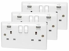 3 X Double Wall Plug Socket 2 Gang 13A with 2 USB Charger Port Outlets White