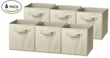 LUXEHOME Home Decorative Foldable Storage Box Set , Natural Canvas, Set Of 6