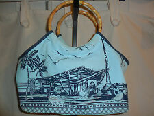 DISNEY STORE MICKEY AND MINNIE BAG BLUE HAWAIIAN DESIGN BAMBOO DESIGN HANDLE EUC