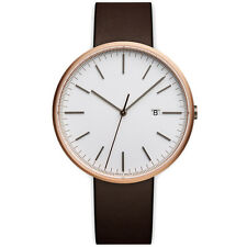 Uniform Wares M40 Calendar Rose Gold with Brown Nappa Leather Strap Watch SALE