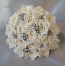 ARTIFICIAL WEDDING FLOWERS SILVER/WHITE FOAM ROSE WEDDING BRIDESMAID  BOUQUET