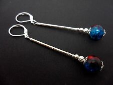 A PAIR SILVER PLATED BLUE & RED CRACKLE BEAD LONG LEVERBACK HOOK EARRINGS. NEW.