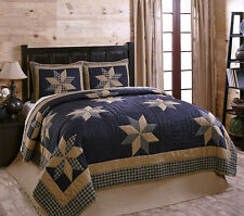 Navy Blue Tan Patchwork Quilt Set by Olivias Heartland Henry Cotton King