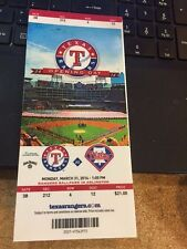 2014 TEXAS RANGERS VS PHILADELPHIA PHILLIES TICKET STUB 3/31 OPENING DAY