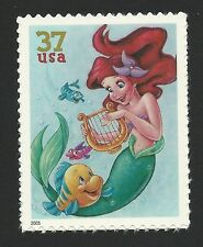 Ariel The Little Mermaid and Flounder Walt Disney Animated Movie Stamp Mint NH!