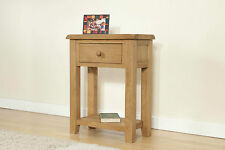 SOLID WOOD RUSTIC OAK SMALL TELEPHONE LAMP HALL CONSOLE TABLE UNIT