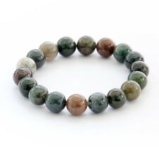 Moss Agate Gem Tibet Buddhist Prayer Beads Mala Bracelet