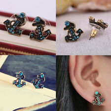 New Fashion Women Lady Vintage Blue Crystal Sailor Anchor Ear Stud Earrings