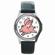 Flying Pig When Pigs Fly Leather Watch New!