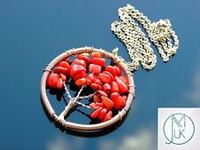 Handmade Red Coral Tree of Life Natural Gemstone Pendant Necklace 50cm Chakra