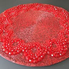 "Kim Seybert Red Beaded Placemat Charger Centerpiece 15"" Valentine Christmas NEW"